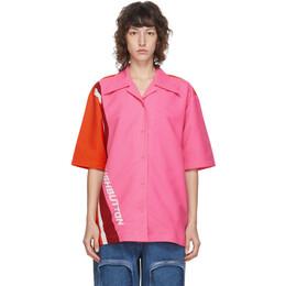 Pushbutton Pink and Orange Logo Short Sleeve Shirt PB2030208W