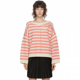 Charles Jeffrey Loverboy Pink and Off-White Striped Slash Sweater COREAW20SSJ