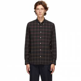 Officine Generale Navy and Brown Ombre Check Shirt W20MSHI015PRE
