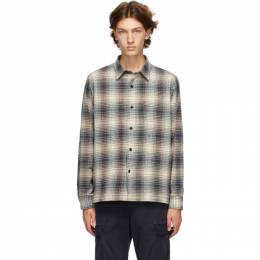 Officine Generale Off-White and Navy Check Generale Sol Ombre Shirt W20MSHI019PRE
