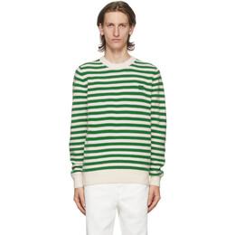 Acne Studios Green and White Breton Stripe Sweater C60021