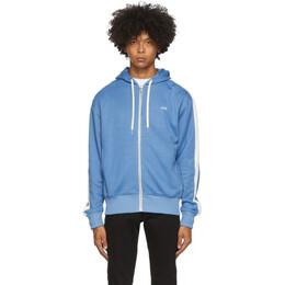 Ami Alexandre Mattiussi Blue Logo Embroidered Zipped Hoodie A20HJ052.744