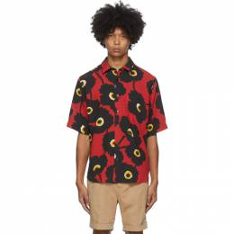 Ami Alexandre Mattiussi Black and Red Printed Summer Fit Short Sleeve Shirt A20HC209.416