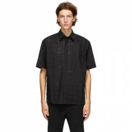 Fendi Black Punched Check Short Sleeve Shirt FS0795 ABUT