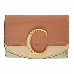 Chloe Tan Small Chloe C Tri-Fold Wallet CHC20AP058D09