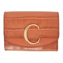 Chloe Orange Croc Small Chloe C Tri-Fold Wallet CHC19WP088A87