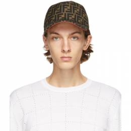 Fendi Brown and Red Forever Fendi Cap FXQ768 A66O