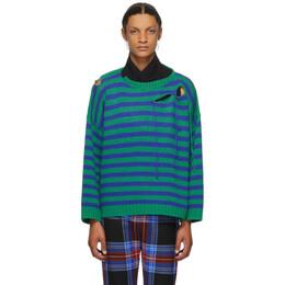 Charles Jeffrey Loverboy Blue and Green Striped Slash Sweater COREAW20SSJ
