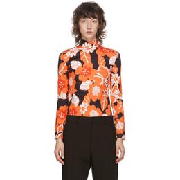 Rokh Black and Orange Floral Turtleneck R0CA159