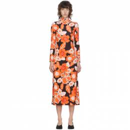 Rokh Black and Orange Floral Dress R6CA160
