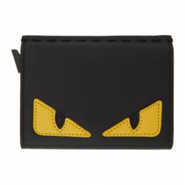Fendi Black and Yellow Slide-Out Bag Bugs Card Holder 7M0302 O73