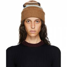 Lanvin Brown Cashmere Striped Beanie AW-HAMH04-MV02-A20