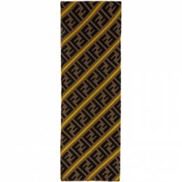 Fendi Brown and Yellow Stripe Forever Fendi Scarf FXS124 AA12
