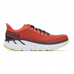Hoka One One Orange and Black Clifton 7 Sneakers 1110508 CLBLC