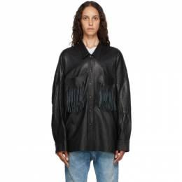 R13 Black Leather Fringed Shirt R13W7356-01