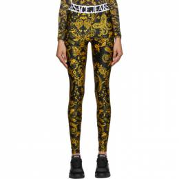 Versace Jeans Couture Black and Gold Paisley Print Leggings ED5HZA161 ES0839