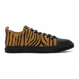 Giuseppe Zanotti Design Black and Beige Zebra Blabber Sneakers RU00052-86865