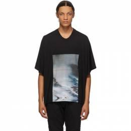 Julius Black Cropped Avalanche T-Shirt 707CPM2