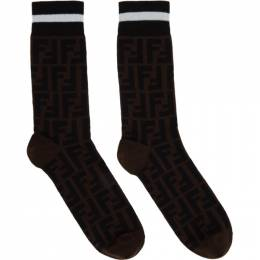Fendi Black and Brown Forever Fendi Socks FXZ037 A4Z5