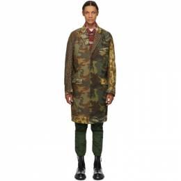 R13 Green and Brown Multi Camo Shredded Coat R13W7345M-MUL