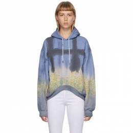 Collina Strada Navy Tie-Dye Floral Round Hem Hoodie XX8370
