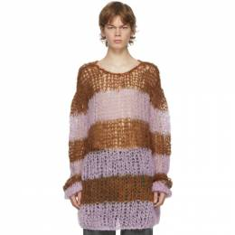 Raf Simons Brown and Pink Mohair Striped Punk Sweater 202-835B