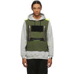 Sankuanz Grey and Khaki Vest Hoodie SKZM20AW0TH0201-GY