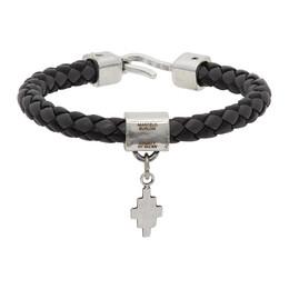 Marcelo Burlon County Of Milan Black and Grey Braided Leather Cross Bracelet CMOA012E20LEA0010710
