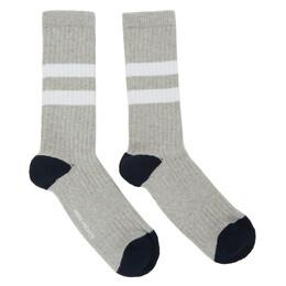 Norse Projects Grey Cotton Bjarki Sport Socks N82-0001