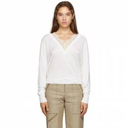 Chloe Off-White Wool and Silk Lace V-Neck Sweater CHC20AMP98950