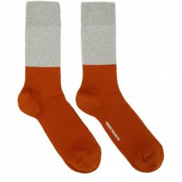 Norse Projects Grey and Orange Colorblock Bjarki Socks N82-0039