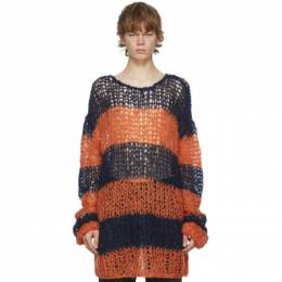 Raf Simons Navy and Orange Mohair Stripe Punk Sweater 202-835B