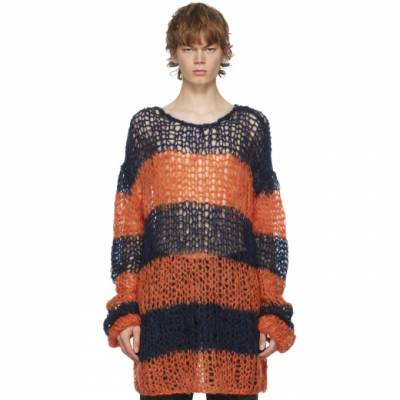 Raf Simons Navy and Orange Mohair Stripe Punk Sweater 202 835B for $975 on LePodium