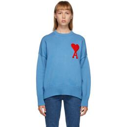 Ami Alexandre Mattiussi Blue Ami De Coeur Crewneck Sweater A20HK009.006