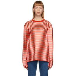 Ami Alexandre Mattiussi Red and White Ami De Coeur Mariniere Long Sleeve T-Shirt A20HJ106.72