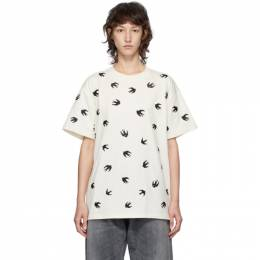 MCQ by Alexander McQueen Off-White Allover Swallows Boyfriend T-Shirt 583305ROR60