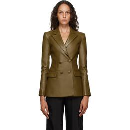 Off-White Khaki Leather Double Breasted Jacket OWJA036E20LEA0016363