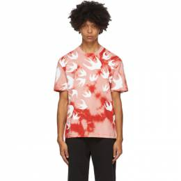MCQ by Alexander McQueen Pink and Red Tie-Dye Swallows T-Shirt 291571RPR11
