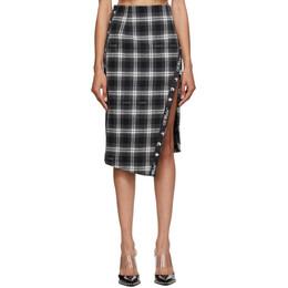 Off-White Black Check Side-Split Midi Skirt OWCC101E20FAB0021000