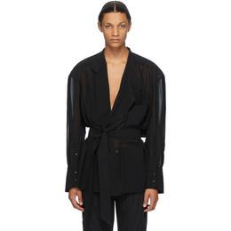 Mugler Black Chiffon Wrap Shirt 20W1TO0536575