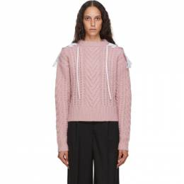 Cecilie Bahnsen Pink Wool and Alpaca Cable Knit Monse Sweater PF20-0076