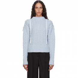 Cecilie Bahnsen Blue Wool and Alpaca Cable Knit Monse Sweater PF20-0076