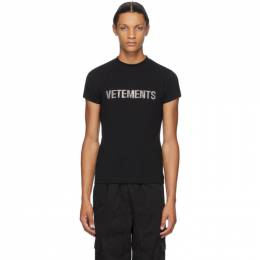Vetements Black Rhinestone Logo T-Shirt WAH21TR523