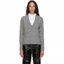 Tibi Grey Eco Tweedy V-Neck Sweater P220ET6074