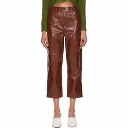Tibi Burgundy Faux-Leather Cropped Carpenter Trousers P220FP3194