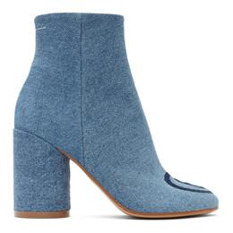 Mm6 Maison Margiela Blue Denim 6 Ankle Boots S59WU0166 P3536