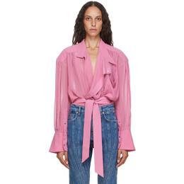 Mugler Pink Echo Chiffon Wrap Blouse 20W1TO0536575