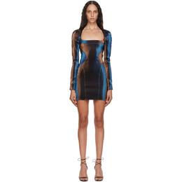 Mugler Blue and Brown Stretch Mini Dress 20W1RO1254756