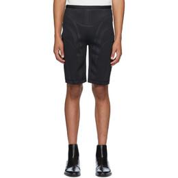 Mugler Black Embossed Bicycle Shorts 19P3PA0259655