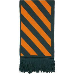 Off-White Green and Orange Knit Diag Scarf OMMA001E20KNI0015720
